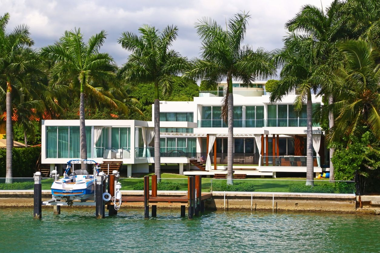 a waterfront mansion in Anventura, Miami
