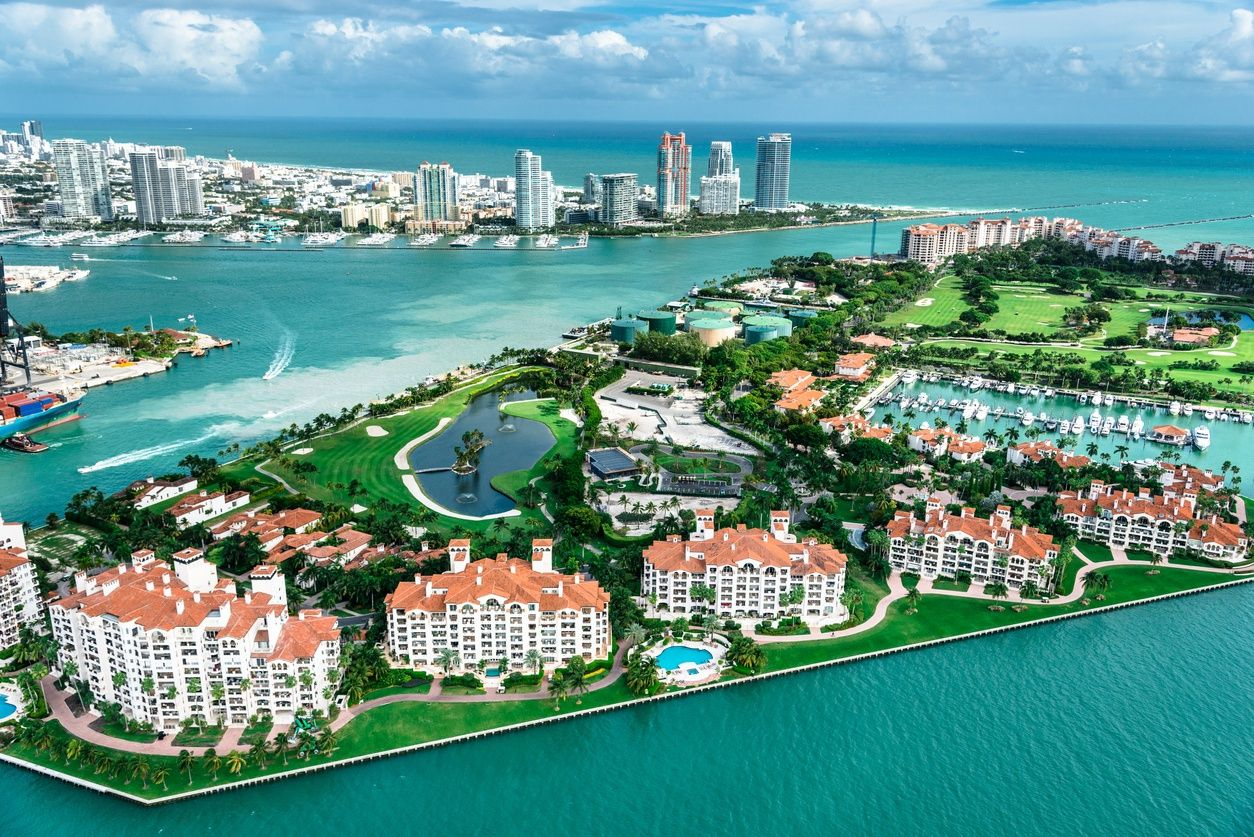an aerial view of Fisher Island in Miami, Florida